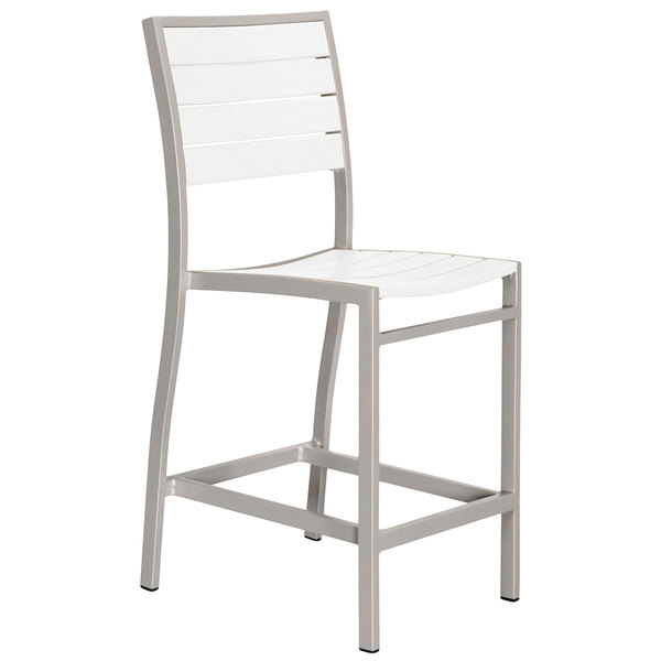 Surprising Polywood A101Faswh White Euro Counter Height Side Chair With Textured Silver Frame Pdpeps Interior Chair Design Pdpepsorg