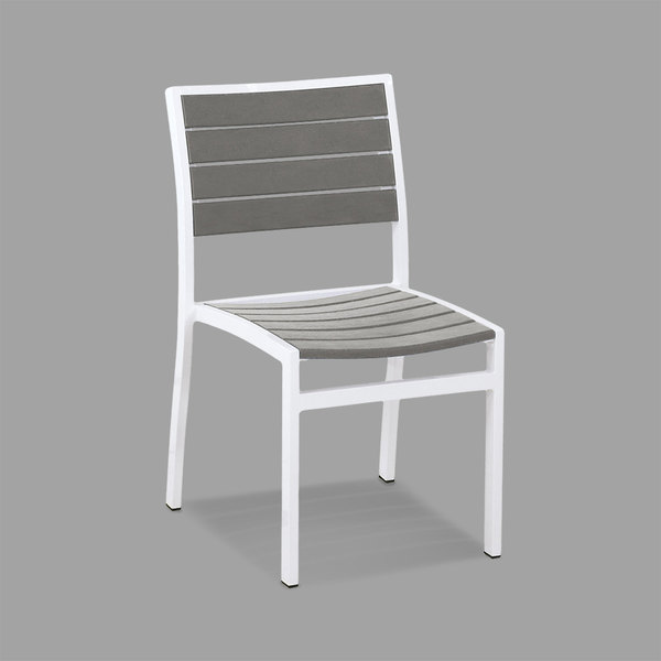 POLYWOOD A100-13GY Slate Grey Euro Stackable Dining Height Side Chair with Satin White Frame