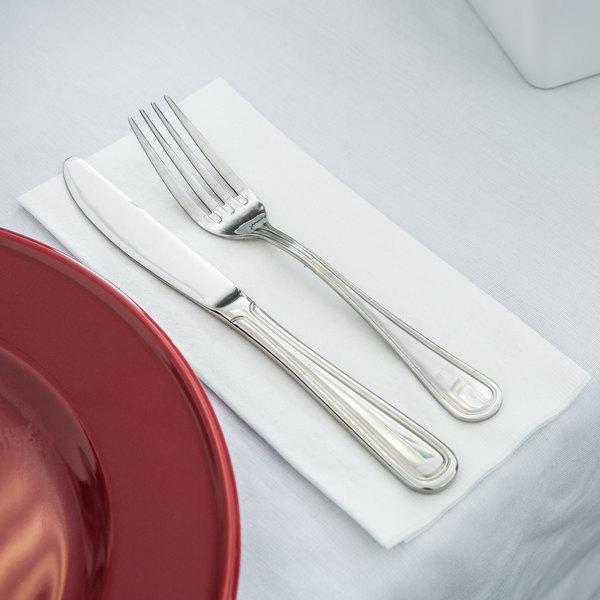 """Hoffmaster 120051 17"""" x 17"""" White Linen-Like 1/8 Fold Greek Key Embossed Dinner Napkin - 75/Pack"""
