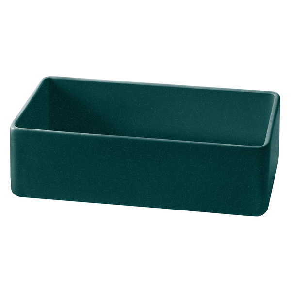 """Tablecraft CW4022HGNS Contemporary Collection Hunter Green with White Speckle 1.75 Qt. Cast Aluminum Straight Sided Bowl - 3"""" Deep"""