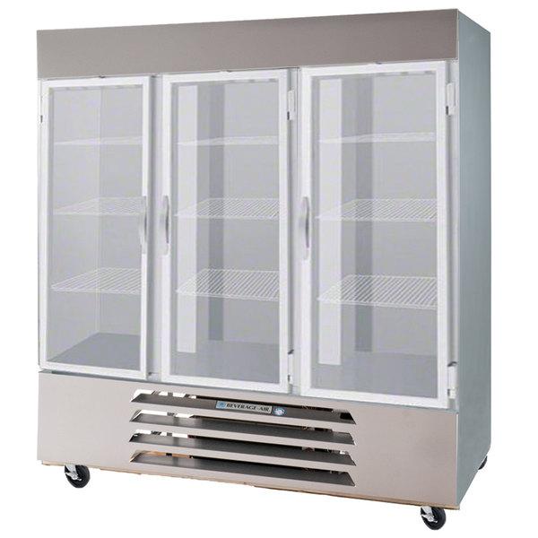 Beverage Air HBR72-1-G-LED Three Glass Door Bottom Mount Reach In Refrigerator - 72 Cu. Ft.