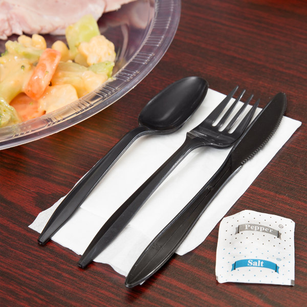 Choice Individually Wrapped Medium Weight Black Plastic Cutlery Set with Napkin and Salt and Pepper Packets - 250/Case