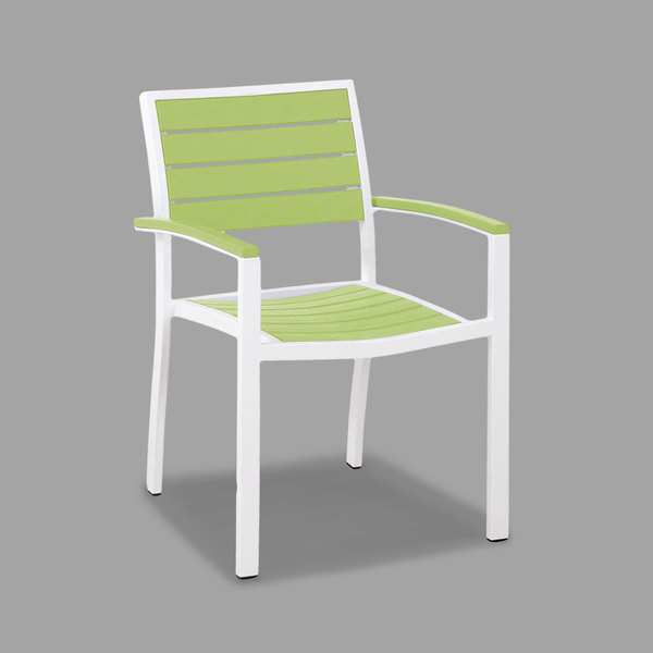 POLYWOOD A200-13LI Lime Euro Stackable Dining Height Arm Chair with Satin White Frame
