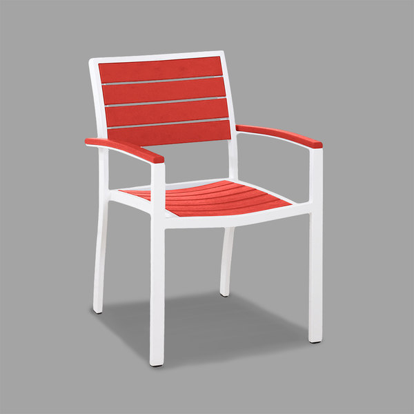 POLYWOOD A200-13SR Sunset Red Euro Stackable Dining Height Arm Chair with Satin White Frame