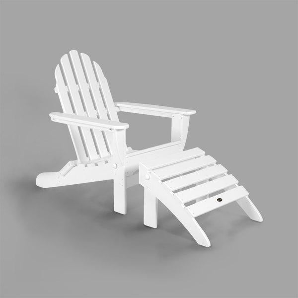 Brilliant Polywood Pws136 1 Wh White Classic Folding Adirondack Chair With Folding Ottoman Uwap Interior Chair Design Uwaporg
