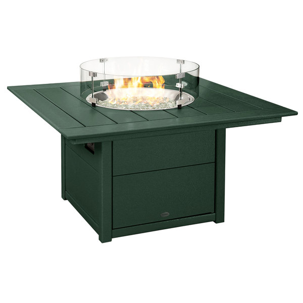 Green Polywood square fire pit