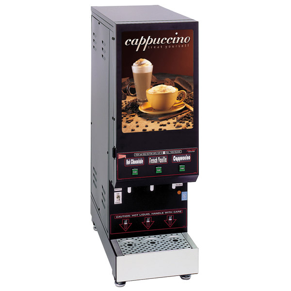 Cecilware GB3M5.5-LD Space Saver Series Triple Hopper Powdered Cappuccino Dispenser with Illuminated Front - 120V