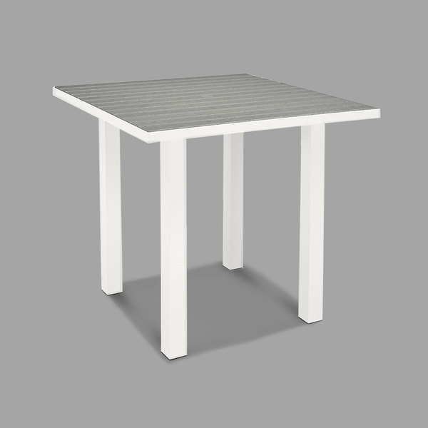 "POLYWOOD ATR36-13GY Slate Grey Euro 36"" Square Counter Height Table with Satin White Frame Main Image 1"