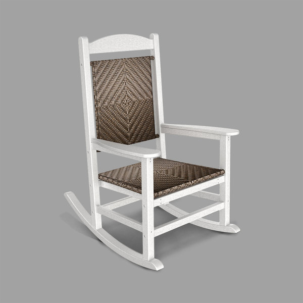 POLYWOOD R200FWHCA Cahaba Presidential Woven Rocking Chair with White Frame Main Image 1