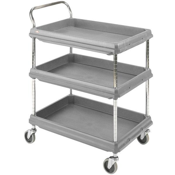 "Metro BC2636-3DG Gray Utility Cart with Three Deep Ledge Shelves 38 3/4"" x 27"""