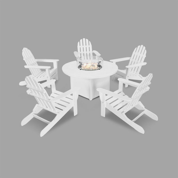 Wondrous Polywood Pws414 1 Wh White 48 Round Fire Pit Table With 5 Classic Folding Adirondack Chairs Bralicious Painted Fabric Chair Ideas Braliciousco