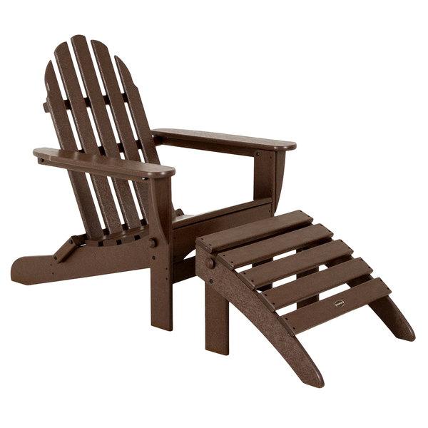 POLYWOOD PWS136-1-MA Mahogany Classic Folding Adirondack Chair with Folding Ottoman Main Image 1