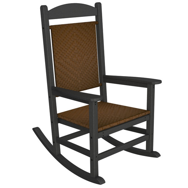 POLYWOOD R200FGYTW Tigerwood Presidential Woven Rocking Chair with Slate Grey Frame Main Image 1