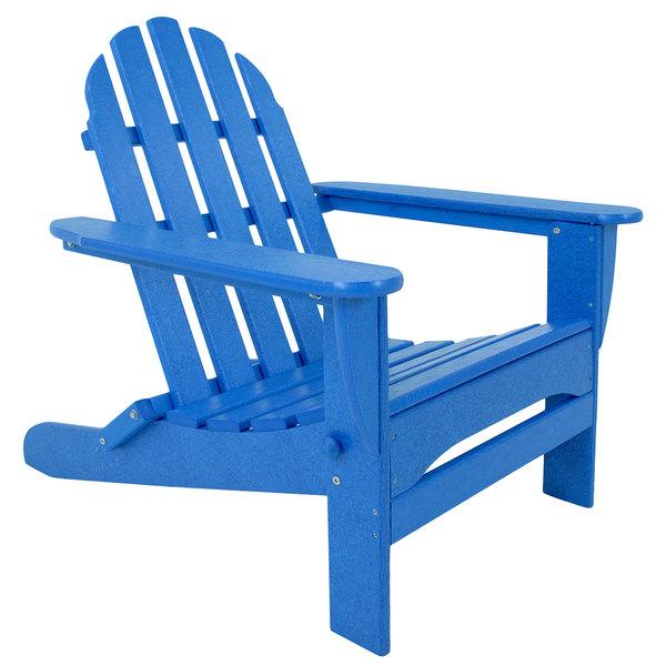 Blue Polywood folding Adirondack chair