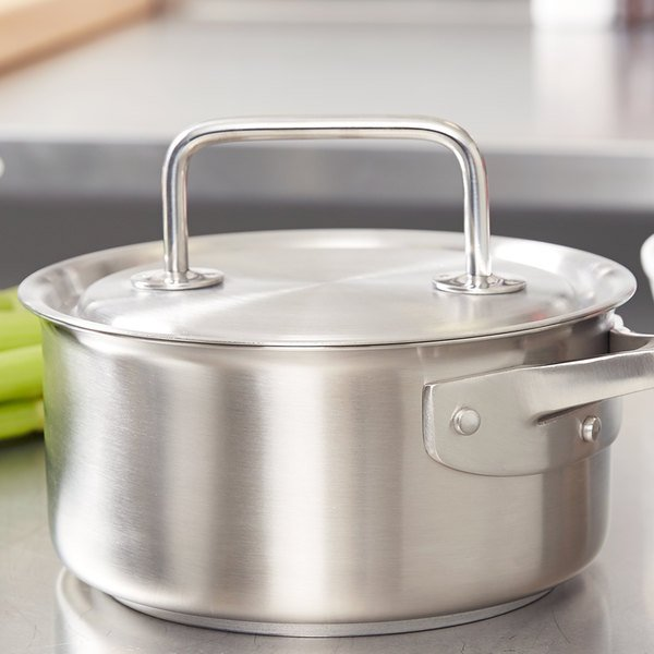 """Vollrath 47770 Intrigue 7 1/8"""" Stainless Steel Cover with Loop Handle"""