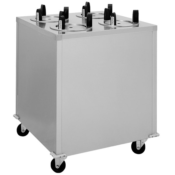 """Delfield CAB4-1200QT Quick Temp Mobile Enclosed Four Stack Heated Dish Dispenser / Warmer for 10 1/8"""" to 12"""" Dishes - 208V"""