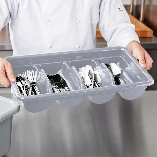 Cambro 1120CBPL180 Poly Cambox Light Gray Four Compartment Plastic Cutlery Box