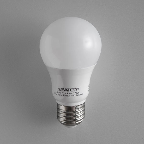 Satco S29596 9 5 Watt 60 Equivalent Frosted Warm White Multi Directional Led Light Bulb 120v A19 4 Pack