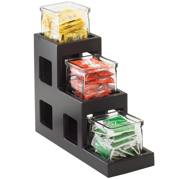 """Cal-Mil 1486-96 Midnight Bamboo Three Tier Jar Display - 5"""" x 14"""" x 13"""""""