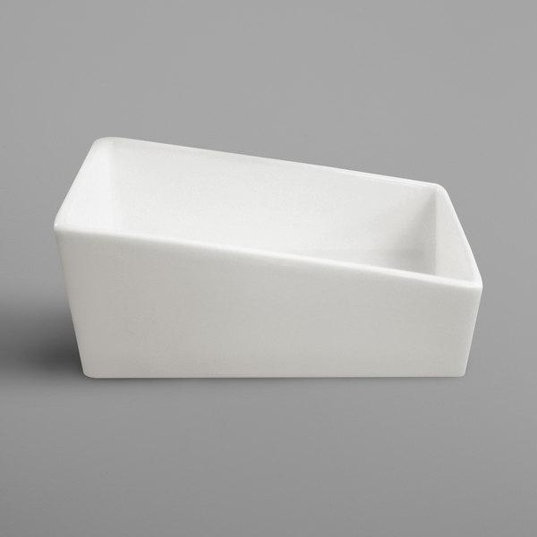 """RAK Porcelain BASH03 Banquet 4 3/8"""" x 2 3/8"""" Ivory Porcelain Sliding Sugar Packet Holder - 6/Case"""