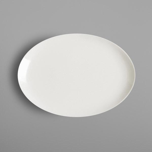 "RAK Porcelain NNOP32 Nano 12 5/8"" x 9"" Ivory Porcelain Oval Coupe Platter - 6/Case"