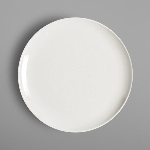 "RAK Porcelain NNPR24 Nano 9 1/2"" Ivory Porcelain Flat Coupe Plate - 12/Case"