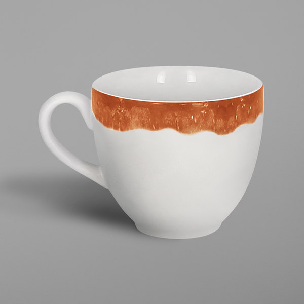 RAK Porcelain WDCLCU23CO Woodart 7.8 oz. Cedar Orange Porcelain Cup - 12/Case