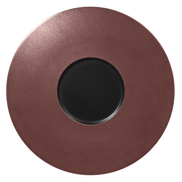 "RAK Porcelain MFFDGF29BB Metal Fusion 11 3/8"" Bronze / Black Porcelain Gourmet Flat Plate - 12/Case"