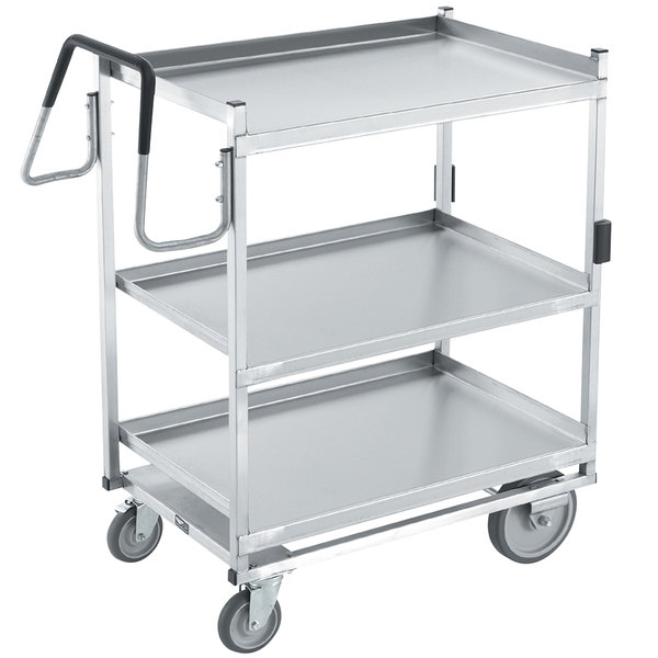 "Vollrath 97206 Heavy-Duty Stainless Steel 3 Shelf Utility Cart - 39"" x 20"" x 44 1/2"""