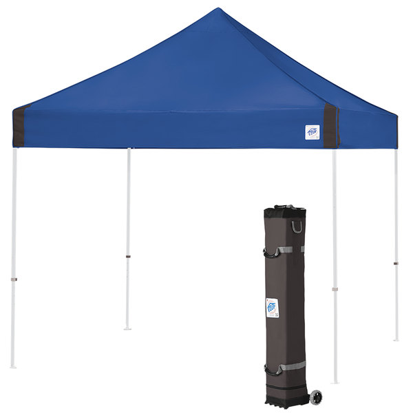 E-Z Up VG3WH10RB Vantage Instant Shelter 10' x 10' Royal Blue Canopy with White Frame Main Image 1