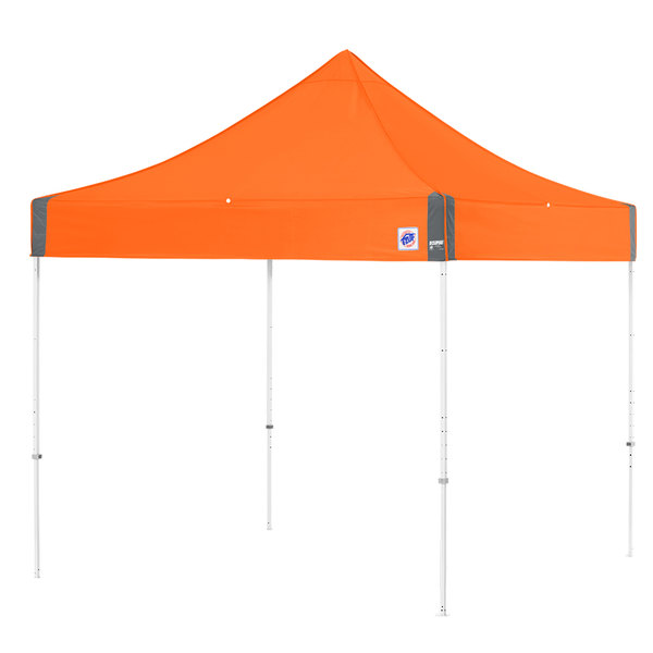 E-Z Up EC3STL8KFWHTSO Eclipse Instant Shelter 8' x 8' Steel Orange Canopy  with White Frame