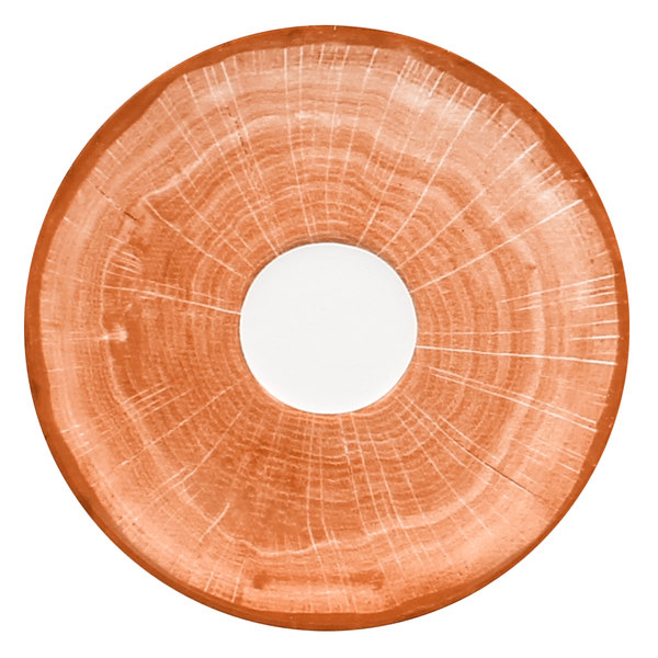 "RAK Porcelain WDCLSA15CO Woodart 5 7/8"" Cedar Orange Porcelain Coffee Cup Saucer - 12/Case"