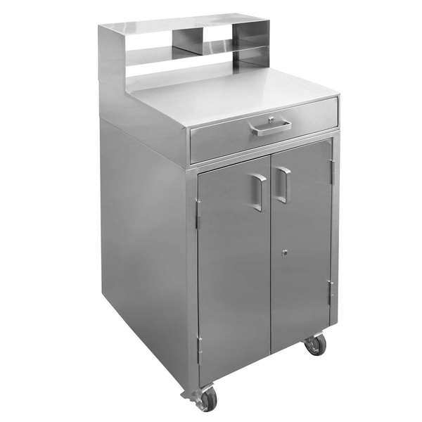"10 Foot Stainless Steel Workstation Cabinets: 25"" Stainless Steel Mobile Receiving Desk With Cabinet Storage"