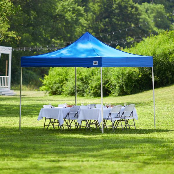 Backyard Pro Courtyard Series 10' x 10' Blue Straight Leg Aluminum Instant Canopy Main Image 6