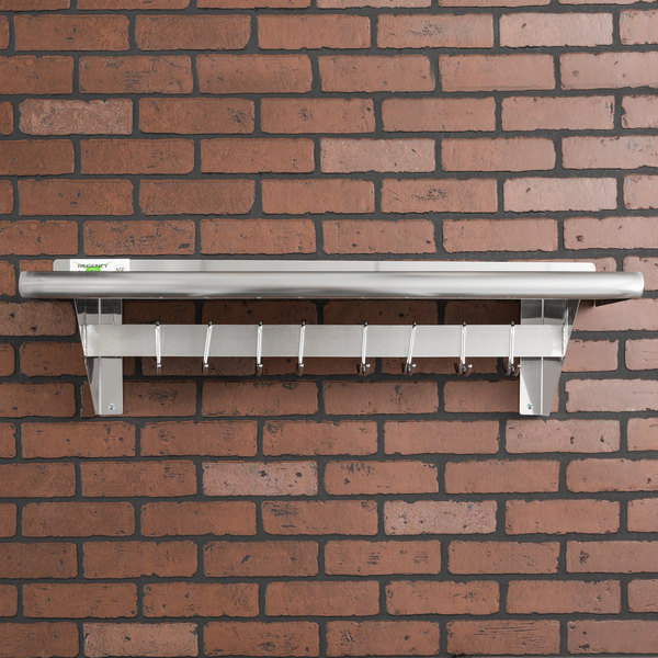 """Regency 12"""" x 36"""" Stainless Steel Wall Mounted Pot Rack with Shelf and 18 Galvanized Hooks"""