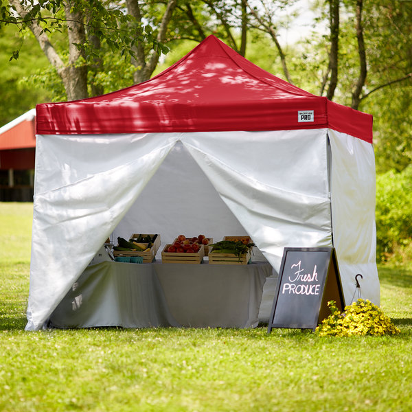 Backyard Pro Courtyard Series 10' x 10' Red Straight Leg Aluminum Instant Canopy Deluxe Kit with 4 Side Walls Main Image 7