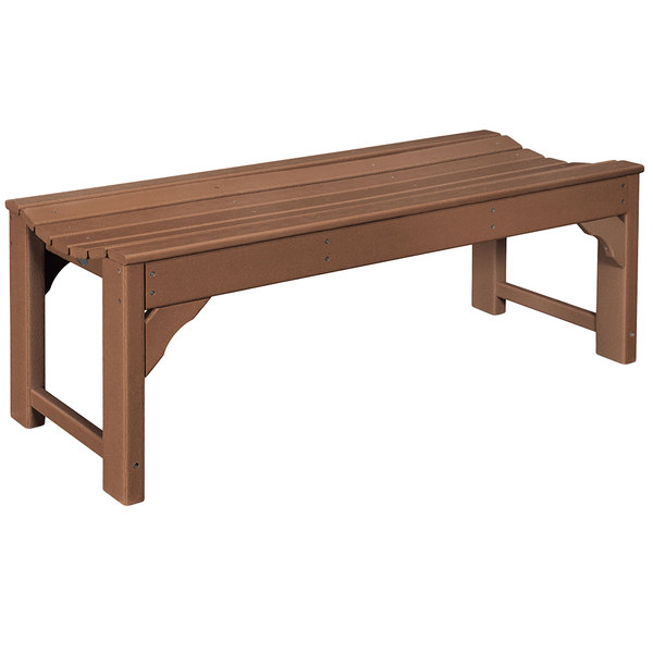 Pleasant Polywood Bab148Te Teak 46 X 20 Traditional Garden Backless Bench Gamerscity Chair Design For Home Gamerscityorg