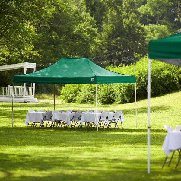 Backyard Pro Courtyard Series 10' x 15' Green Straight Leg Aluminum Instant Canopy Main Image 6