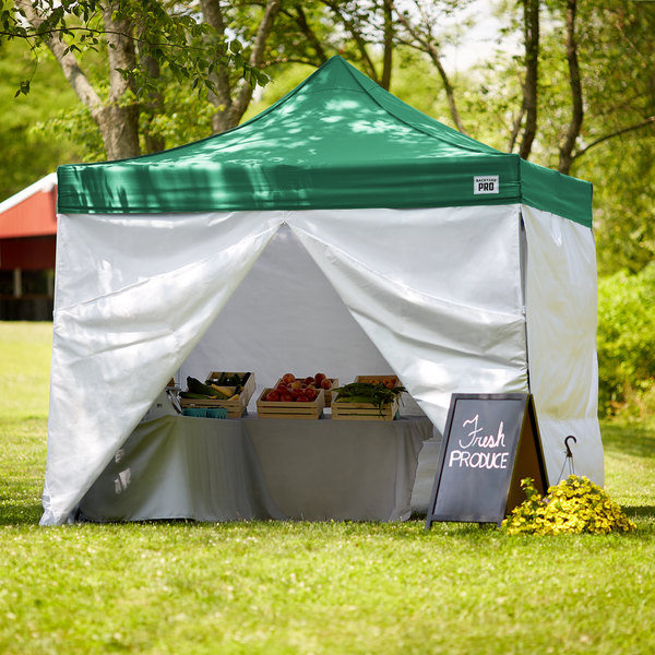 Backyard Pro Courtyard Series 10' x 10' Green Straight Leg Aluminum Instant Canopy Deluxe Kit with 4 Side Walls Main Image 7