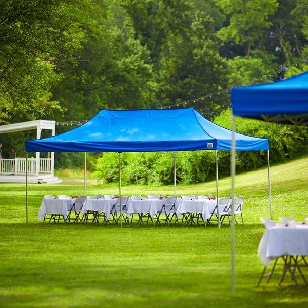 Backyard Pro Courtyard Series 10' x 20' Blue Straight Leg Aluminum Instant Canopy Main Image 5