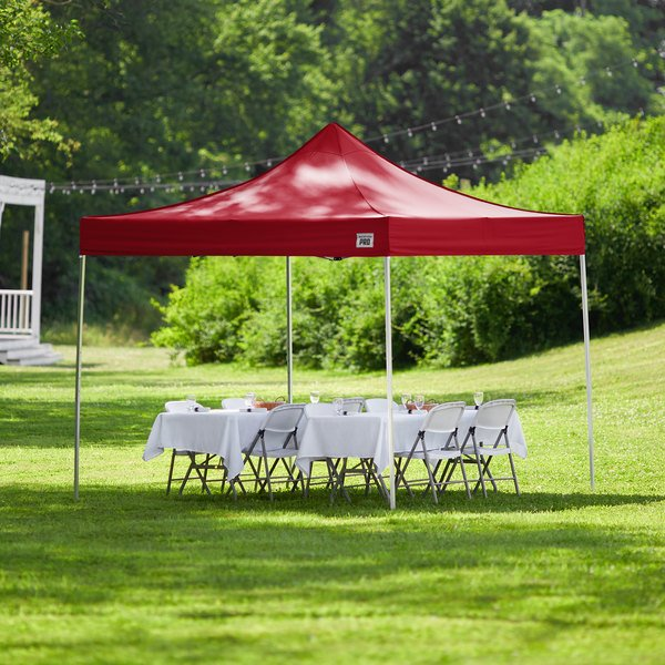 Backyard Pro Courtyard Series 10' x 10' Red Straight Leg Aluminum Instant Canopy Main Image 6