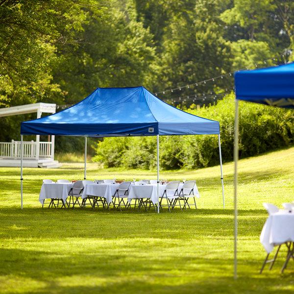 Backyard Pro Courtyard Series 10' x 15' Blue Straight Leg Steel Instant Canopy Main Image 6