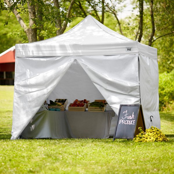 Backyard Pro Courtyard Series 10' x 10' White Straight Leg Aluminum Instant Canopy Deluxe Kit with 4 Side Walls Main Image 7