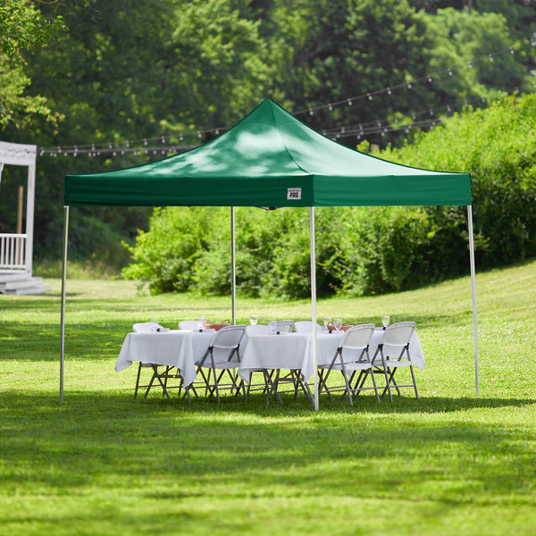 Backyard Pro Courtyard Series 10' x 10' Green Straight Leg Aluminum Instant Canopy Main Image 6