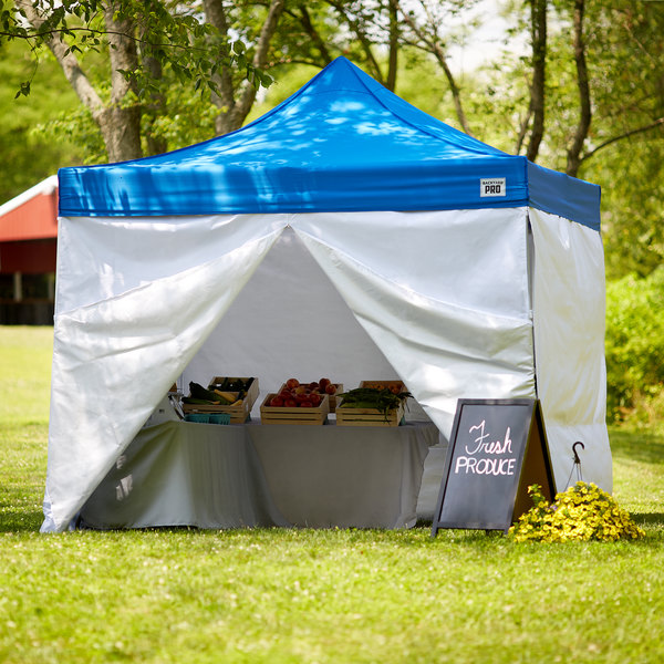 Backyard Pro Courtyard Series 10' x 10' Blue Straight Leg Aluminum Instant Canopy Deluxe Kit with 4 Side Walls Main Image 7