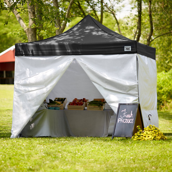 Backyard Pro Courtyard Series 10' x 10' Black Straight Leg Aluminum Instant Canopy Deluxe Kit with 4 Side Walls Main Image 7