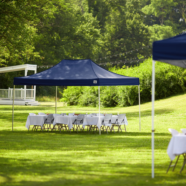Backyard Pro Courtyard Series 10' x 15' Navy Straight Leg Aluminum Instant Canopy Main Image 6