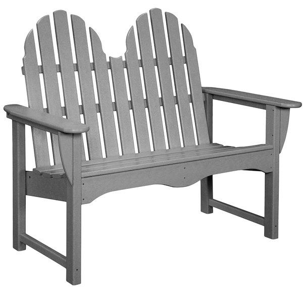 "POLYWOOD ADBN-1GY Slate Grey 48 1/2"" x 28"" Classic Adirondack Bench Main Image 1"
