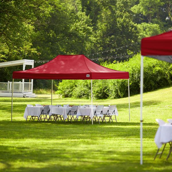Backyard Pro Courtyard Series 10' x 15' Red Straight Leg Aluminum Instant Canopy Main Image 6
