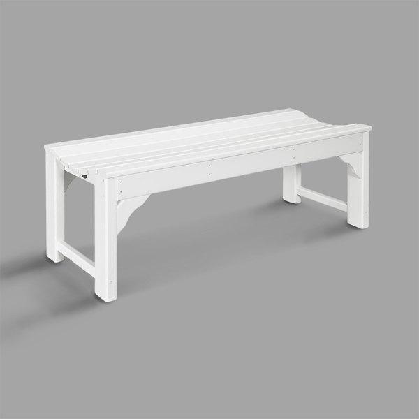 Outstanding Polywood Bab148Wh White 46 X 20 Traditional Garden Backless Bench Frankydiablos Diy Chair Ideas Frankydiabloscom